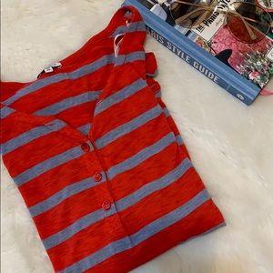 Red striped long sleeve splendid top S